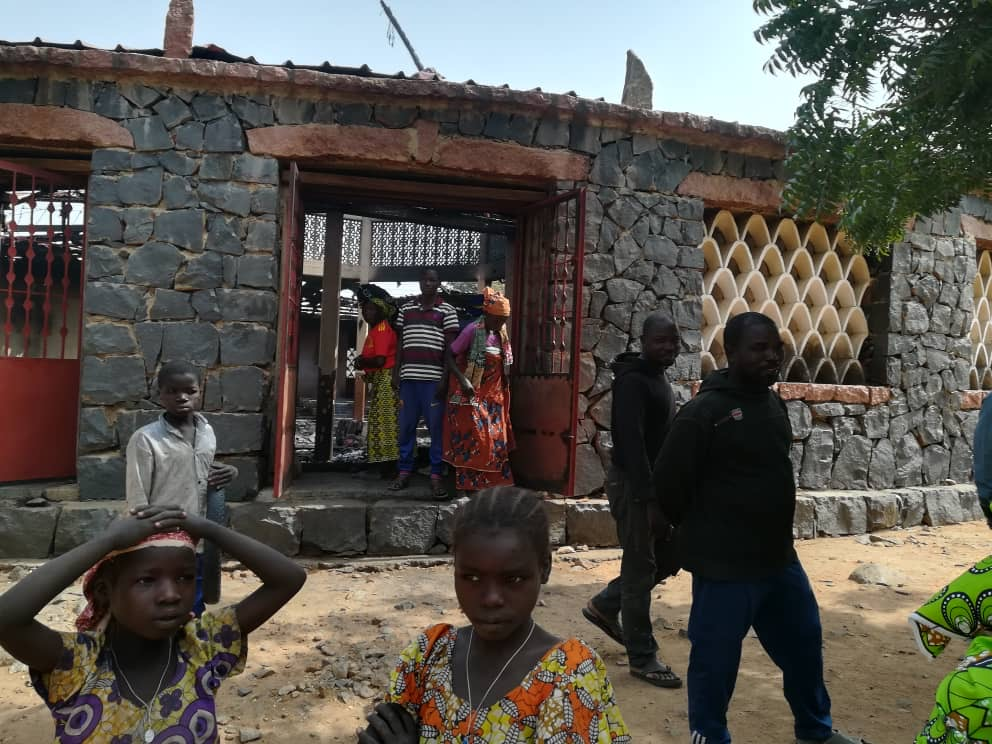 State of the church Burnt church at Saint Pierre parish in Douroum after incident in January 2020
