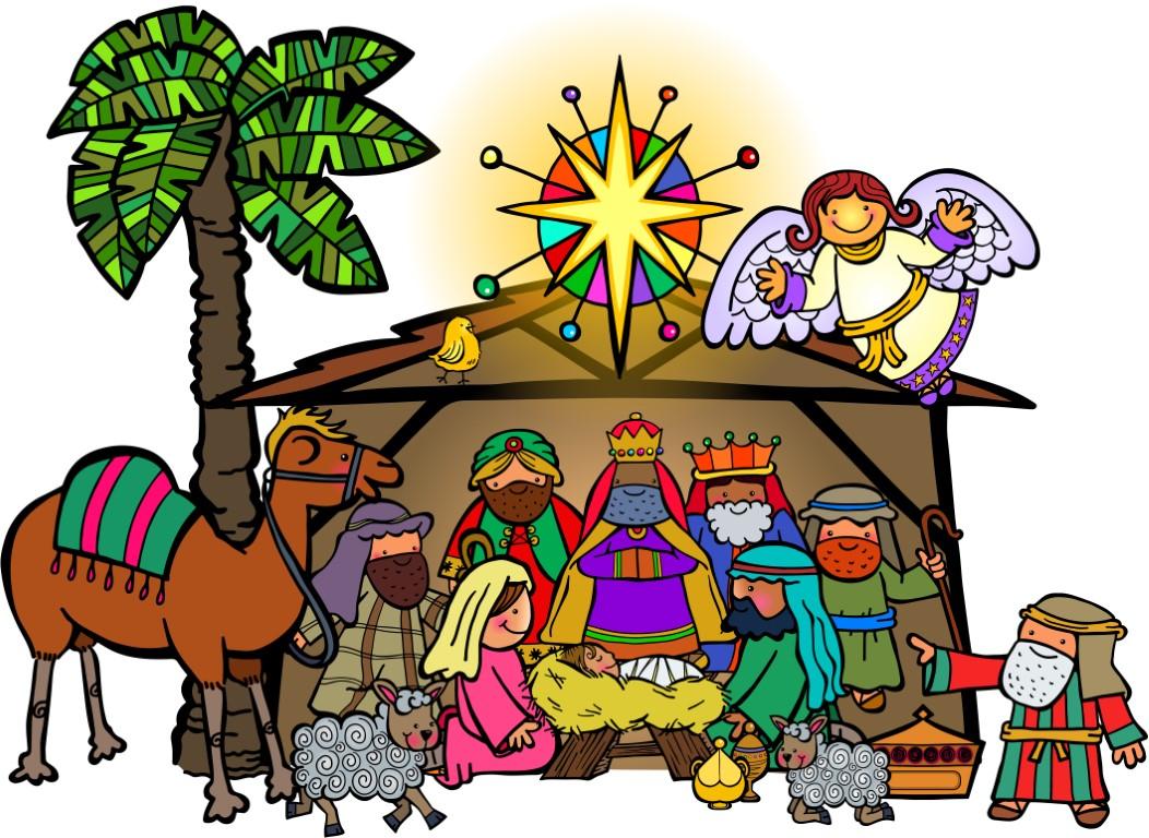 Cartoon Christmas Nativity Scene