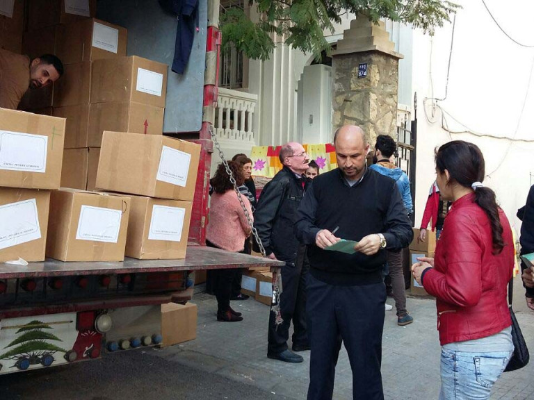 Food parcels for survivors of the explosion in Beirut August 2020